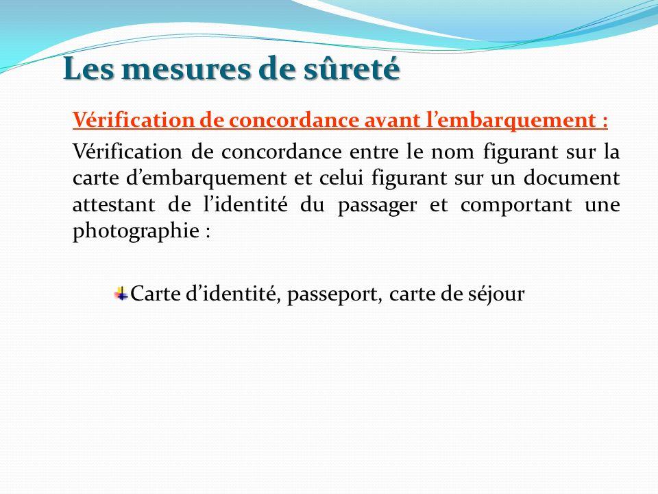 Les mesures de sûreté Vérification de concordance avant lembarquement : Vérification de concordance entre le nom figurant sur la carte dembarquement e