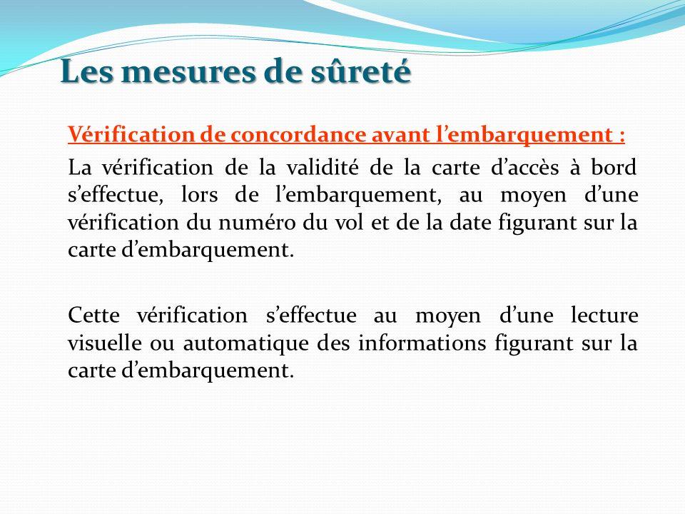 Les mesures de sûreté Vérification de concordance avant lembarquement : La vérification de la validité de la carte daccès à bord seffectue, lors de le