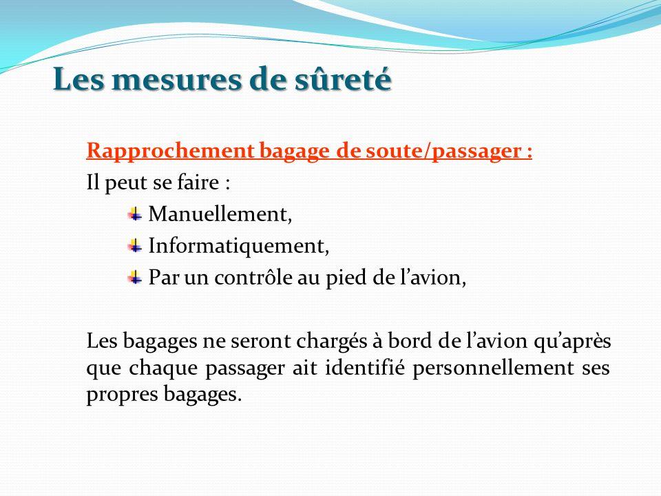 Les mesures de sûreté Rapprochement bagage de soute/passager : Il peut se faire : Manuellement, Informatiquement, Par un contrôle au pied de lavion, L
