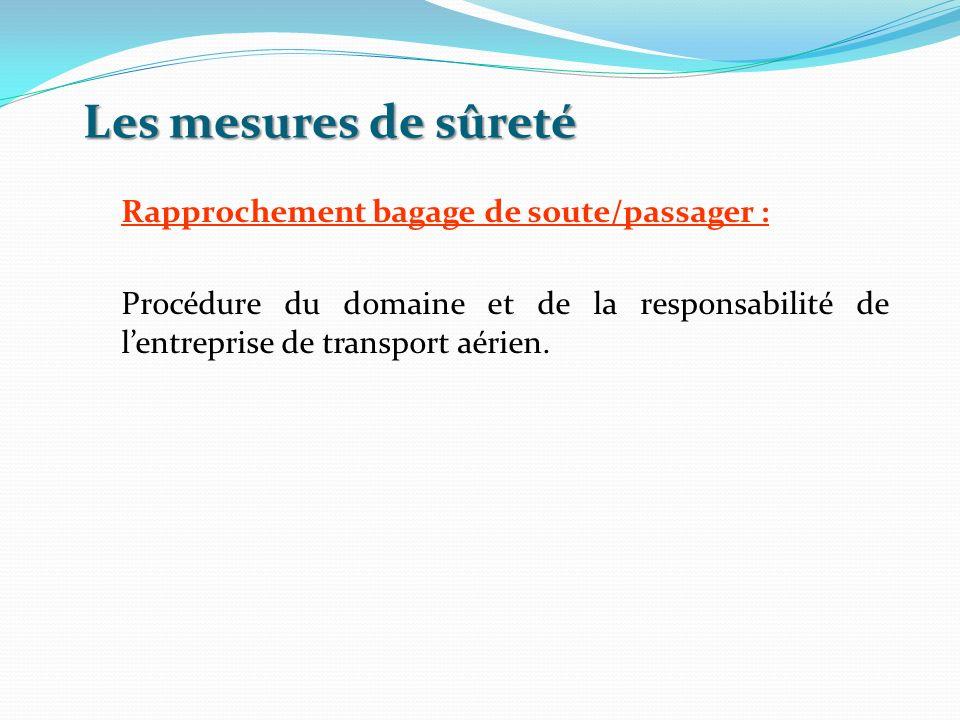 Les mesures de sûreté Rapprochement bagage de soute/passager : Procédure du domaine et de la responsabilité de lentreprise de transport aérien.