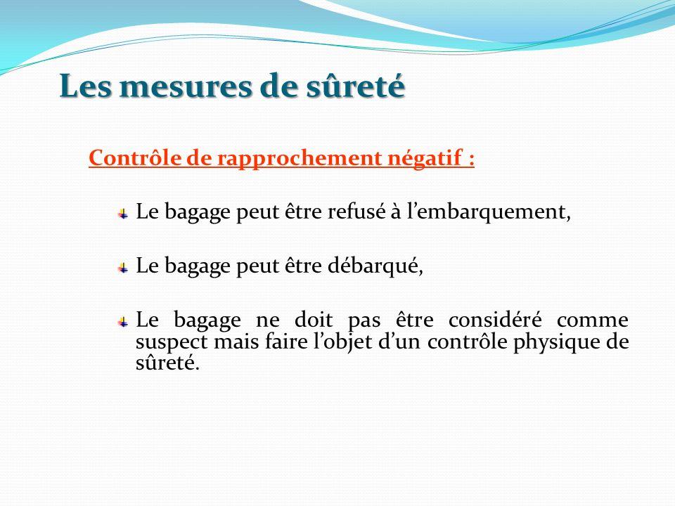 Les mesures de sûreté Contrôle de rapprochement négatif : Le bagage peut être refusé à lembarquement, Le bagage peut être débarqué, Le bagage ne doit