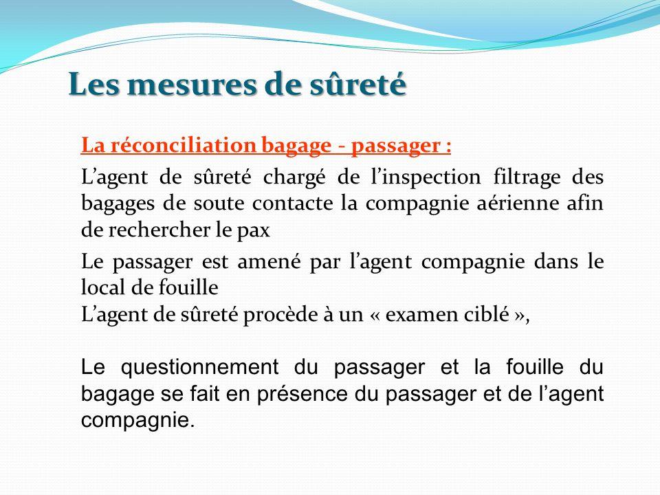 Les mesures de sûreté La réconciliation bagage - passager : Lagent de sûreté chargé de linspection filtrage des bagages de soute contacte la compagnie