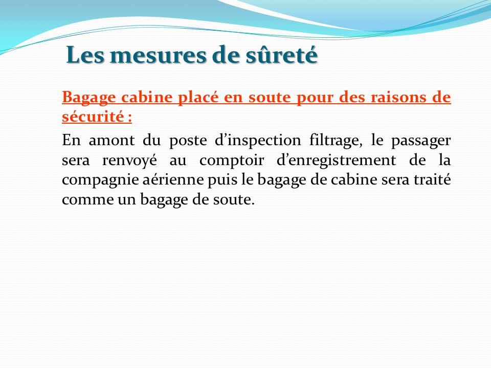 Les mesures de sûreté Bagage cabine placé en soute pour des raisons de sécurité : En amont du poste dinspection filtrage, le passager sera renvoyé au