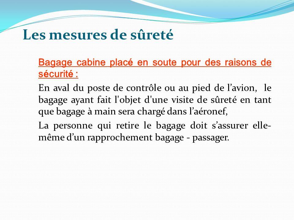 Les mesures de sûreté Bagage cabine plac é en soute pour des raisons de s é curit é : En aval du poste de contrôle ou au pied de lavion, le bagage aya