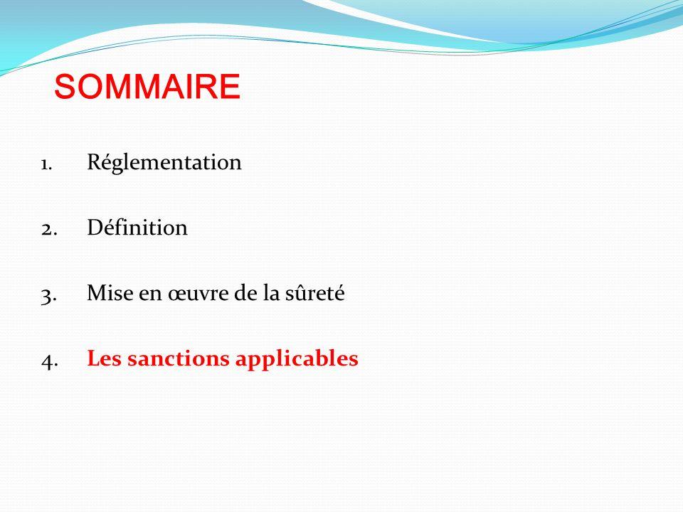 SOMMAIRE 1. Réglementation 2.Définition 3.Mise en œuvre de la sûreté 4.Les sanctions applicables