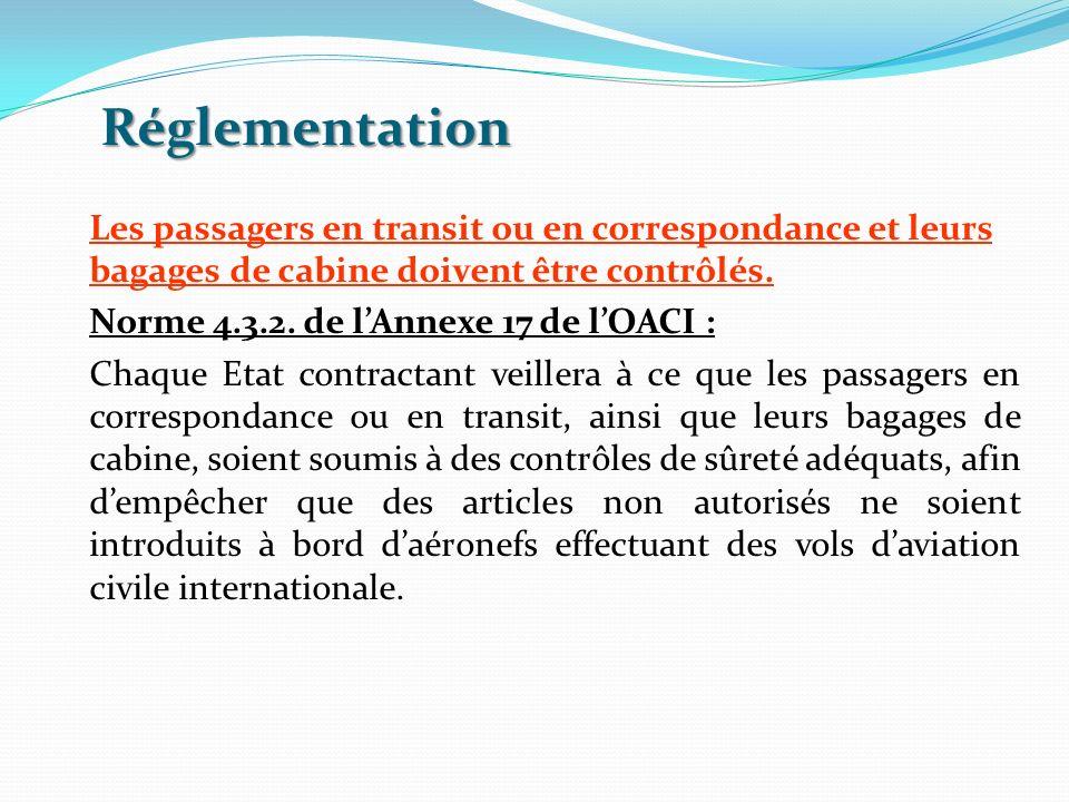 Réglementation Les passagers en transit ou en correspondance et leurs bagages de cabine doivent être contrôlés. Norme 4.3.2. de lAnnexe 17 de lOACI :