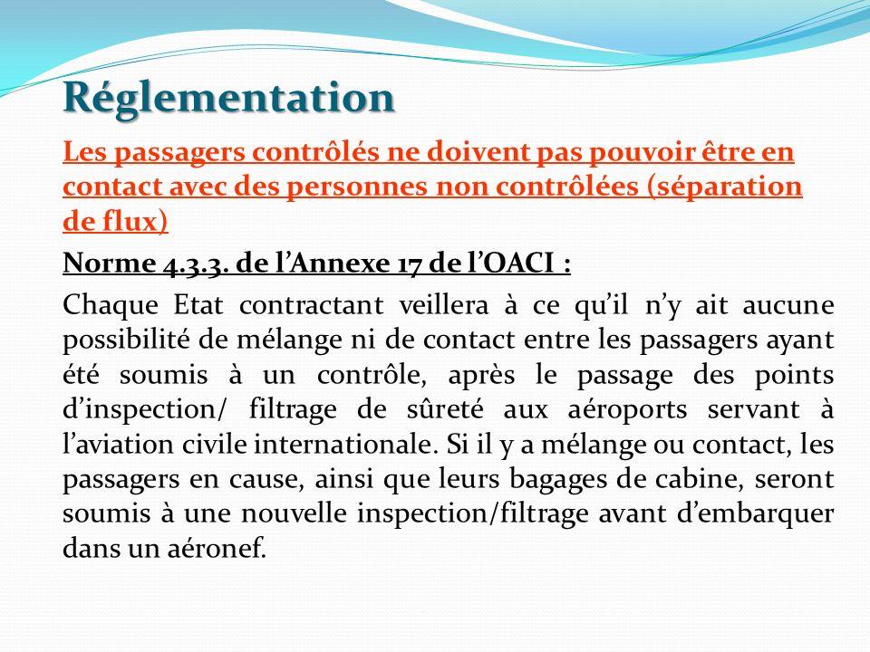 Réglementation Les passagers contrôlés ne doivent pas pouvoir être en contact avec des personnes non contrôlées (séparation de flux) Norme 4.3.3. de l