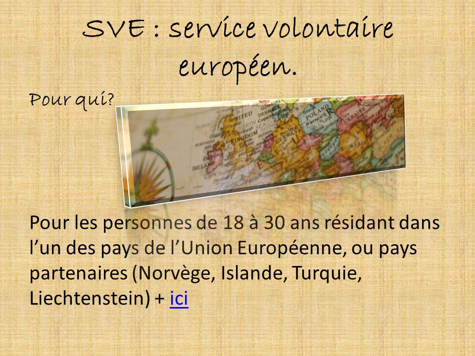 SVE : service volontaire européen. Pour qui? Pour les personnes de 18 à 30 ans résidant dans lun des pays de lUnion Européenne, ou pays partenaires (N