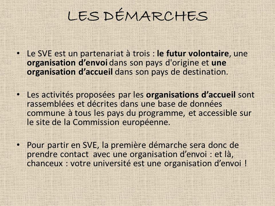 LES DÉMARCHES Le SVE est un partenariat à trois : le futur volontaire, une organisation denvoi dans son pays d'origine et une organisation daccueil da