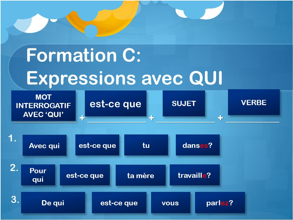 Formation C: Expressions avec QUI _____________ + ____________ + ____________ + ___________ 1.