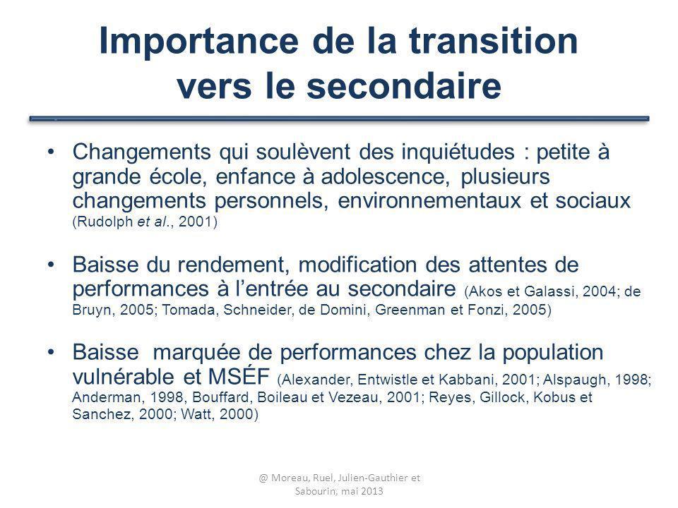 Importance de la transition vers le secondaire Changements qui soulèvent des inquiétudes : petite à grande école, enfance à adolescence, plusieurs cha