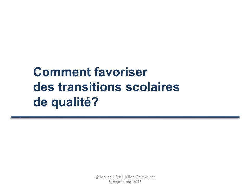Comment favoriser des transitions scolaires de qualité? @ Moreau, Ruel, Julien-Gauthier et Sabourin, mai 2013