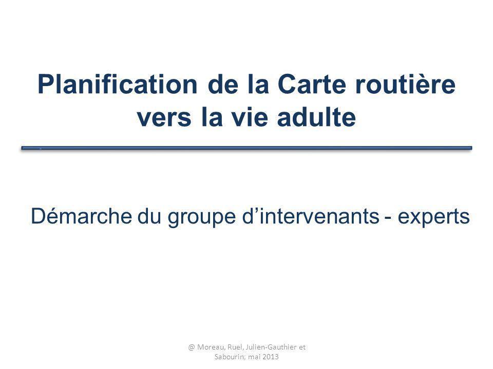Planification de la Carte routière vers la vie adulte Démarche du groupe dintervenants - experts @ Moreau, Ruel, Julien-Gauthier et Sabourin, mai 2013