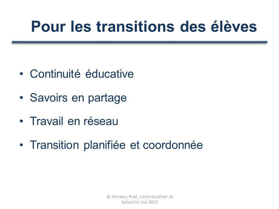 Continuité éducative Savoirs en partage Travail en réseau Transition planifiée et coordonnée Pour les transitions des élèves @ Moreau, Ruel, Julien-Ga
