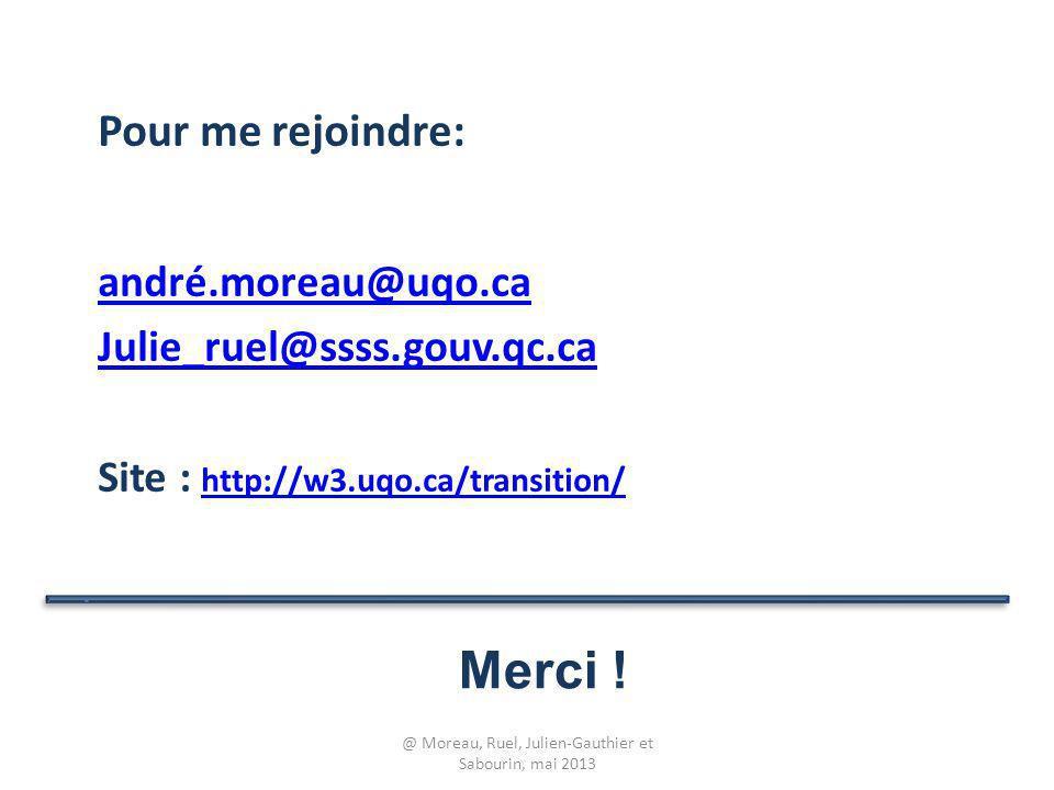 Merci ! Pour me rejoindre: andré.moreau@uqo.ca Julie_ruel@ssss.gouv.qc.ca Site : http://w3.uqo.ca/transition/ http://w3.uqo.ca/transition/ @ Moreau, R