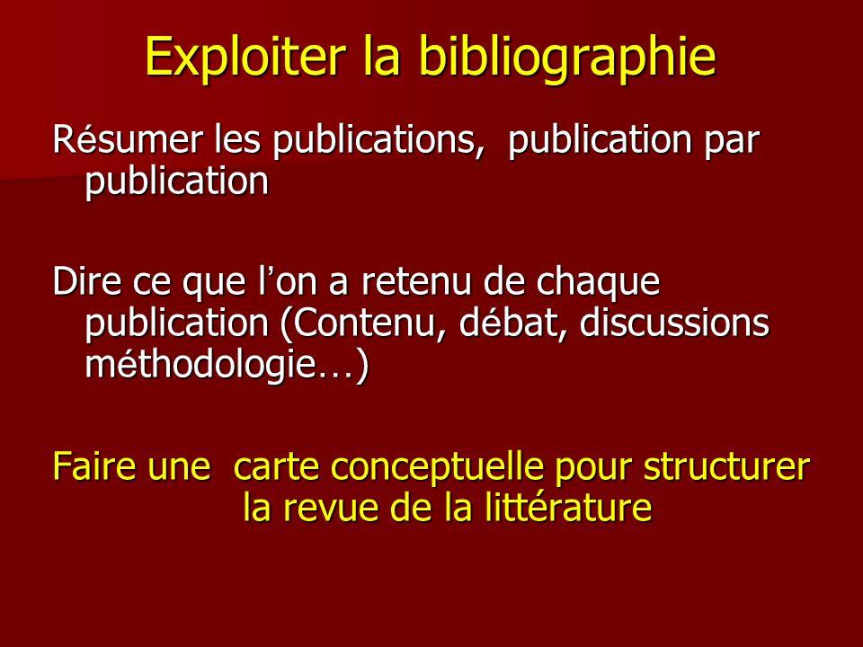 Exploiter la bibliographie R é sumer les publications, publication par publication Dire ce que l on a retenu de chaque publication (Contenu, d é bat,