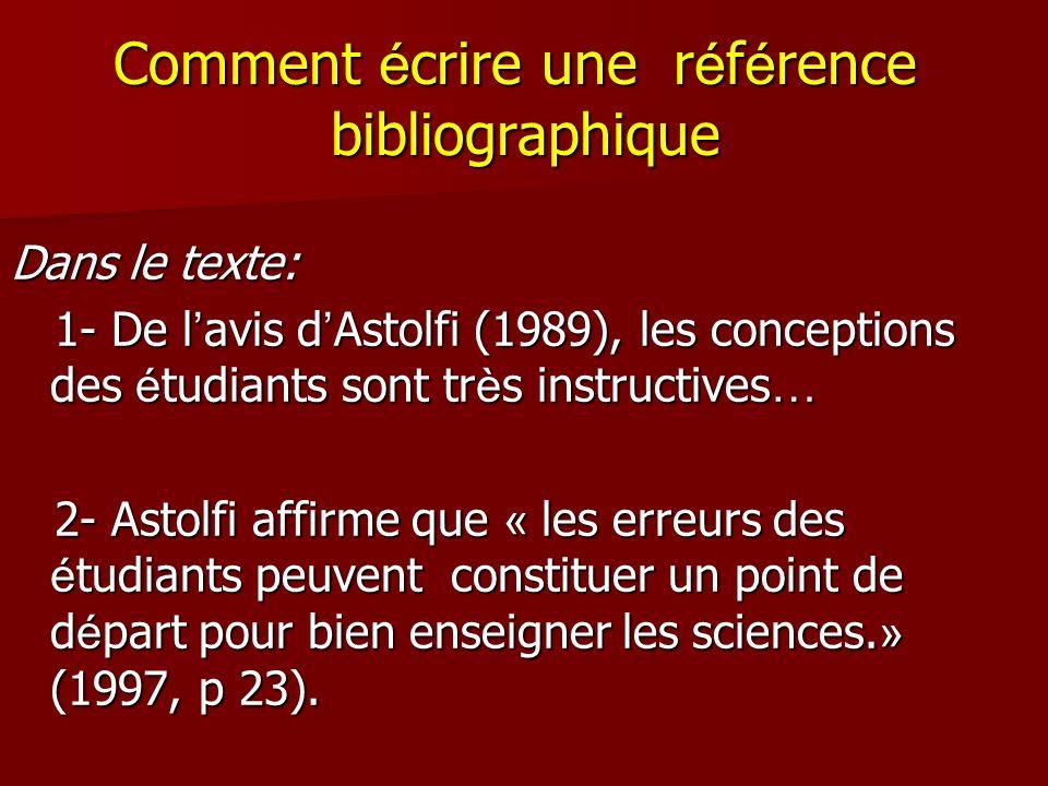 Comment é crire une r é f é rence bibliographique Dans le texte: 1- De l avis d Astolfi (1989), les conceptions des é tudiants sont tr è s instructive