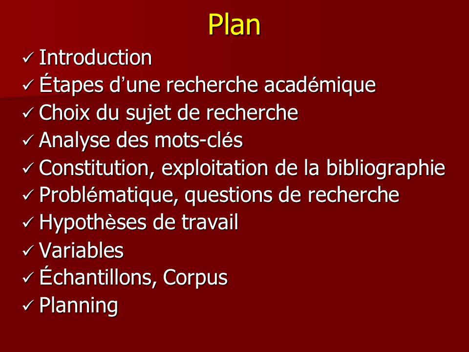 Plan Introduction Introduction É tapes d une recherche acad é mique É tapes d une recherche acad é mique Choix du sujet de recherche Choix du sujet de