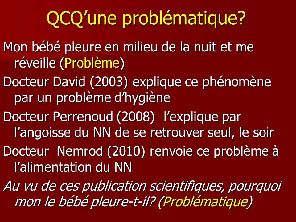 QCQune problématique? Mon bébé pleure en milieu de la nuit et me réveille (Problème) Docteur David (2003) explique ce phénomène par un problème dhygiè