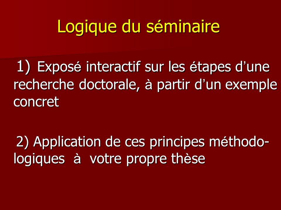 Logique du s é minaire 1) Expos é interactif sur les é tapes d une recherche doctorale, à partir d un exemple concret 1) Expos é interactif sur les é