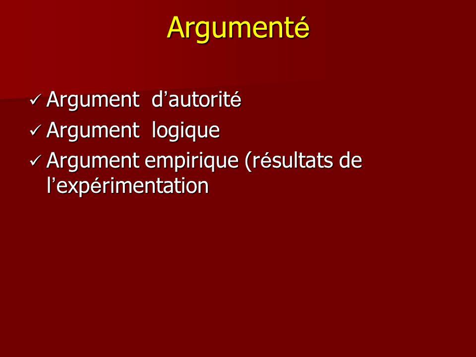 Argument é Argument d autorit é Argument d autorit é Argument logique Argument logique Argument empirique (r é sultats de l exp é rimentation Argument