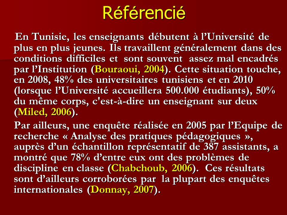 R é f é renci é En Tunisie, les enseignants débutent à lUniversité de plus en plus jeunes. Ils travaillent généralement dans des conditions difficiles