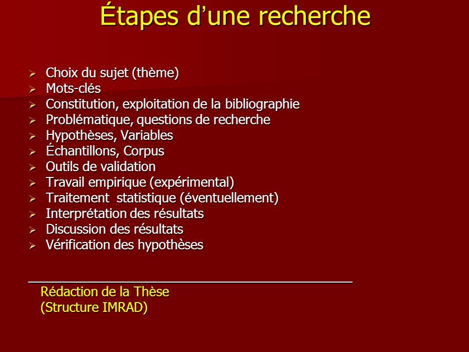 É tapes d une recherche Choix du sujet (th è me) Choix du sujet (th è me) Mots-cl é s Mots-cl é s Constitution, exploitation de la bibliographie Const