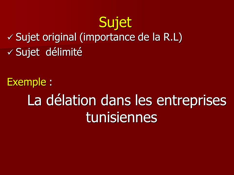 Sujet Sujet original (importance de la R.L) Sujet original (importance de la R.L) Sujet délimité Sujet délimité Exemple : La délation dans les entrepr