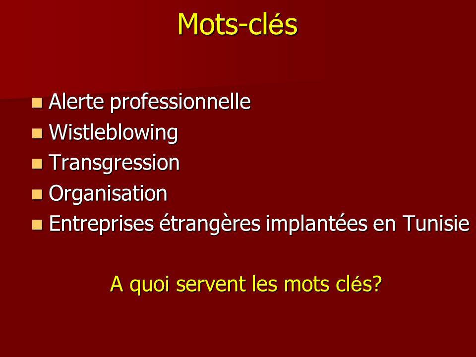Mots-cl é s Alerte professionnelle Alerte professionnelle Wistleblowing Wistleblowing Transgression Transgression Organisation Organisation Entreprise