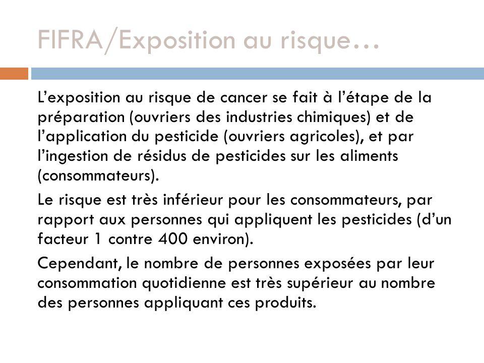 FIFRA/Exposition au risque… Lexposition au risque de cancer se fait à létape de la préparation (ouvriers des industries chimiques) et de lapplication du pesticide (ouvriers agricoles), et par lingestion de résidus de pesticides sur les aliments (consommateurs).