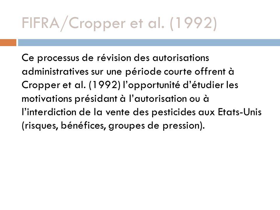 FIFRA/Cropper et al. (1992) Ce processus de révision des autorisations administratives sur une période courte offrent à Cropper et al. (1992) lopportu
