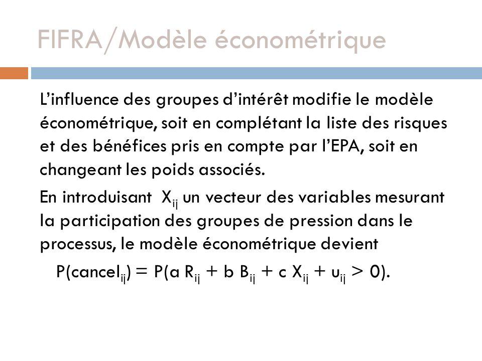 FIFRA/Modèle économétrique Linfluence des groupes dintérêt modifie le modèle économétrique, soit en complétant la liste des risques et des bénéfices pris en compte par lEPA, soit en changeant les poids associés.