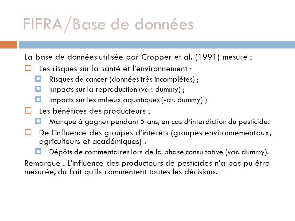 FIFRA/Base de données La base de données utilisée par Cropper et al. (1991) mesure : Les risques sur la santé et lenvironnement : Risques de cancer (d