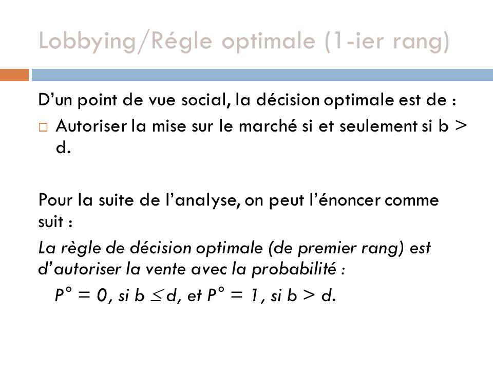Lobbying/Régle optimale (1-ier rang) Dun point de vue social, la décision optimale est de : Autoriser la mise sur le marché si et seulement si b > d.