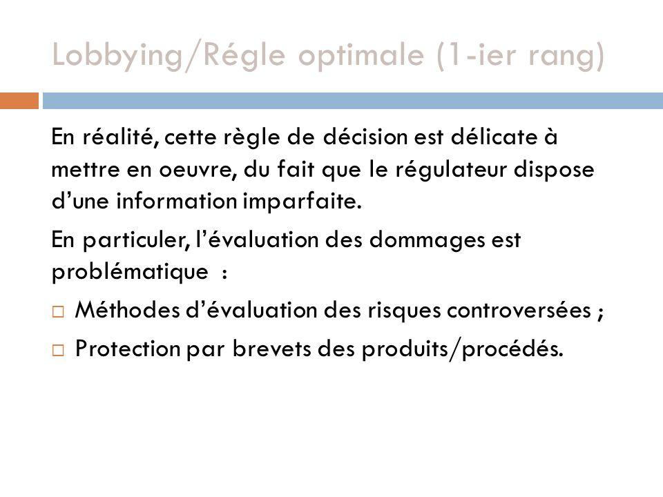 Lobbying/Régle optimale (1-ier rang) En réalité, cette règle de décision est délicate à mettre en oeuvre, du fait que le régulateur dispose dune information imparfaite.