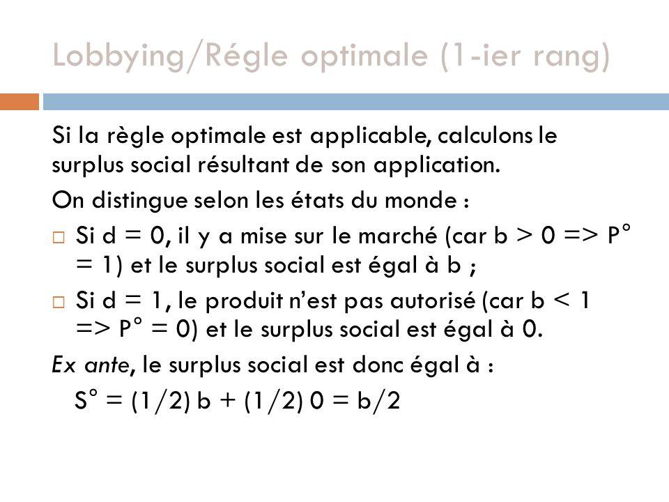 Si la règle optimale est applicable, calculons le surplus social résultant de son application. On distingue selon les états du monde : Si d = 0, il y