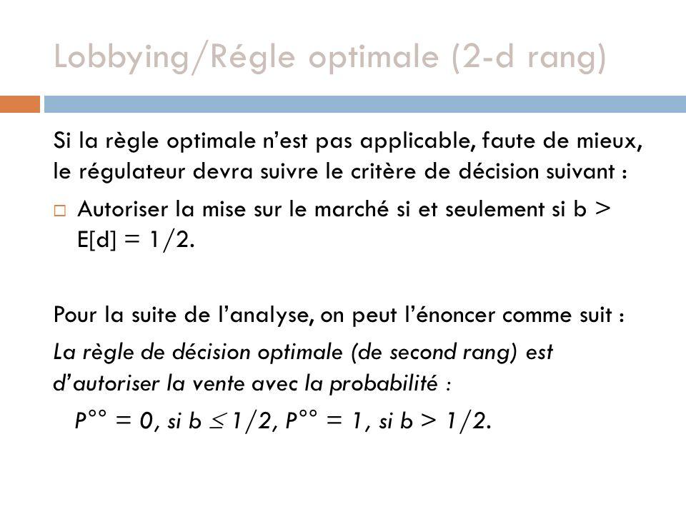 Lobbying/Régle optimale (2-d rang) Si la règle optimale nest pas applicable, faute de mieux, le régulateur devra suivre le critère de décision suivant : Autoriser la mise sur le marché si et seulement si b > E[d] = 1/2.