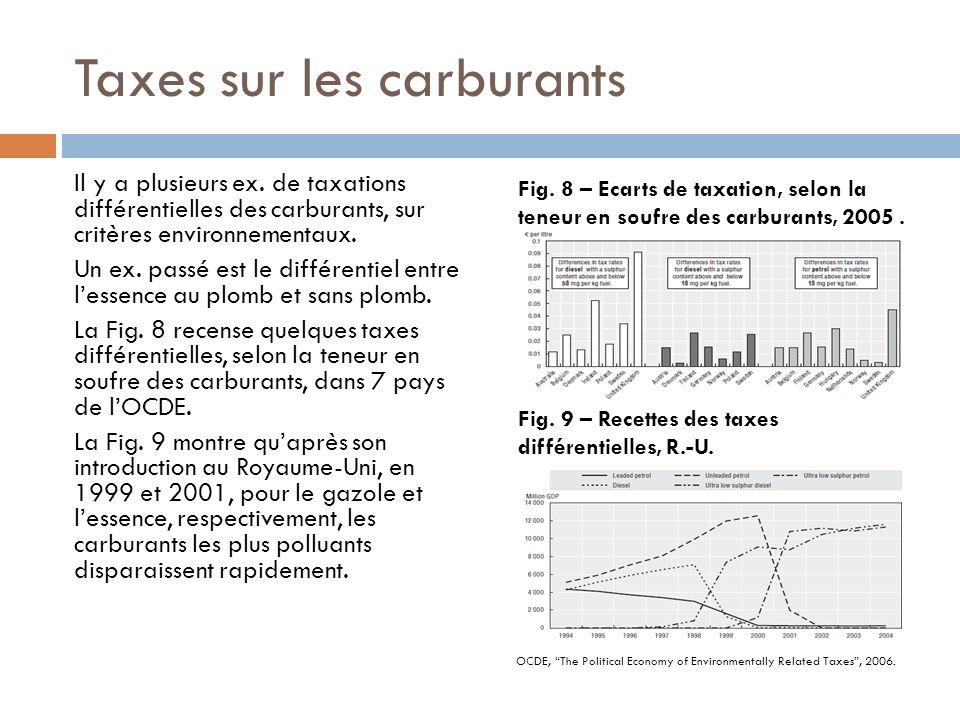 Taxes sur les carburants Il y a plusieurs ex. de taxations différentielles des carburants, sur critères environnementaux. Un ex. passé est le différen