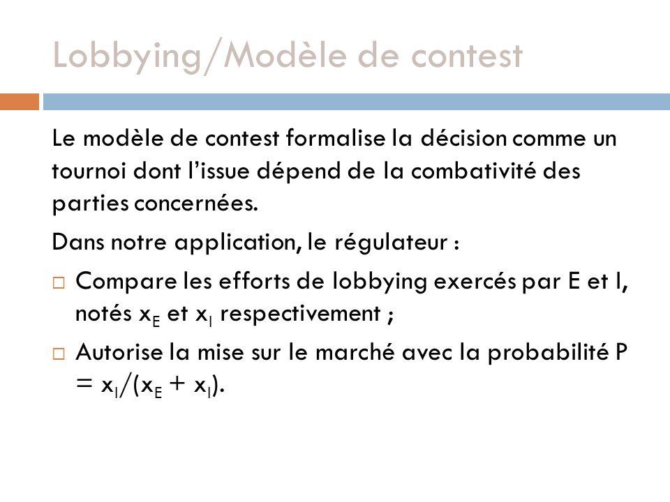 Lobbying/Modèle de contest Le modèle de contest formalise la décision comme un tournoi dont lissue dépend de la combativité des parties concernées. Da