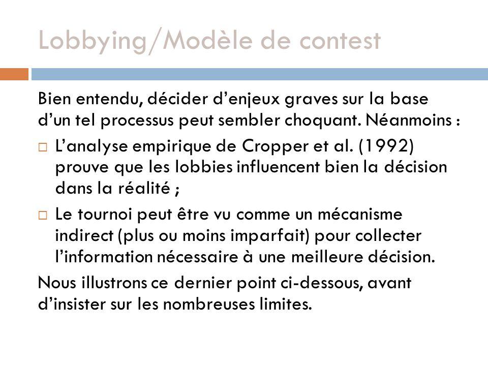Lobbying/Modèle de contest Bien entendu, décider denjeux graves sur la base dun tel processus peut sembler choquant.