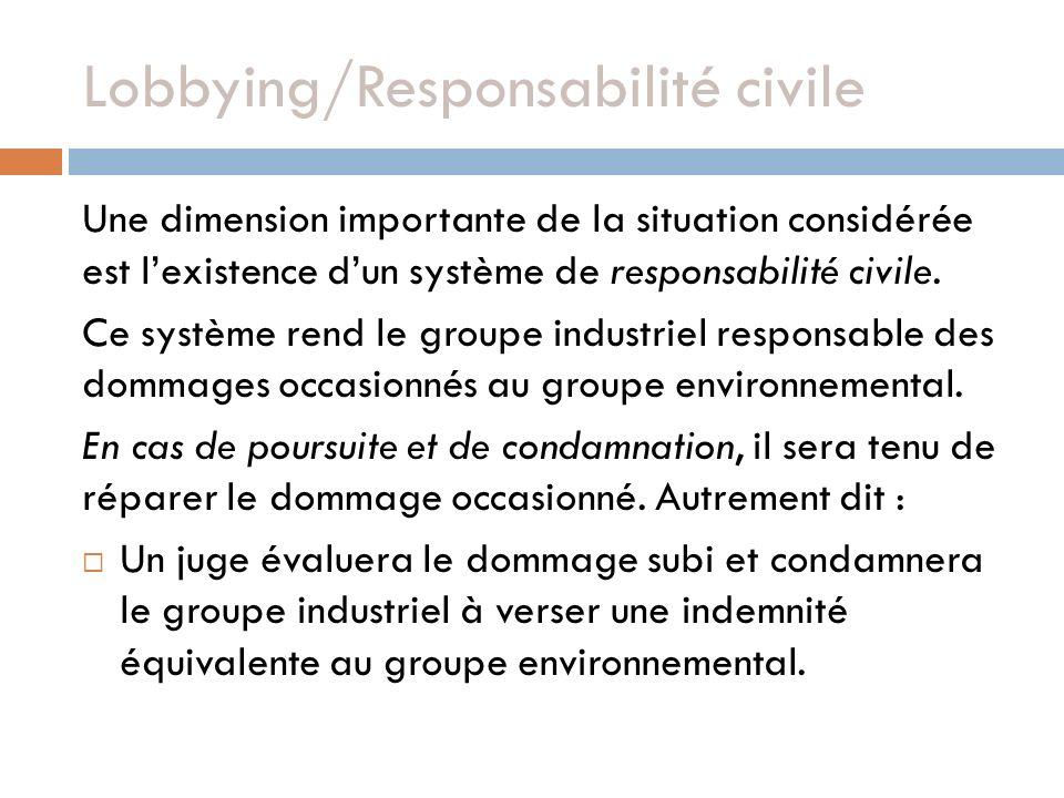 Lobbying/Responsabilité civile Une dimension importante de la situation considérée est lexistence dun système de responsabilité civile.