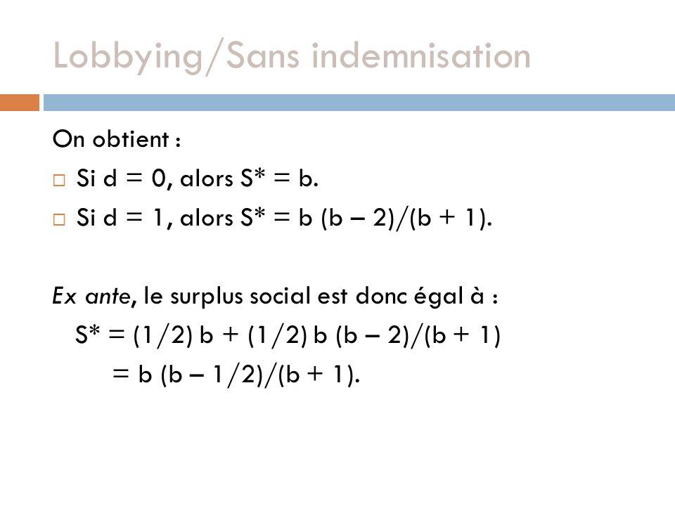 Lobbying/Sans indemnisation On obtient : Si d = 0, alors S* = b. Si d = 1, alors S* = b (b – 2)/(b + 1). Ex ante, le surplus social est donc égal à :