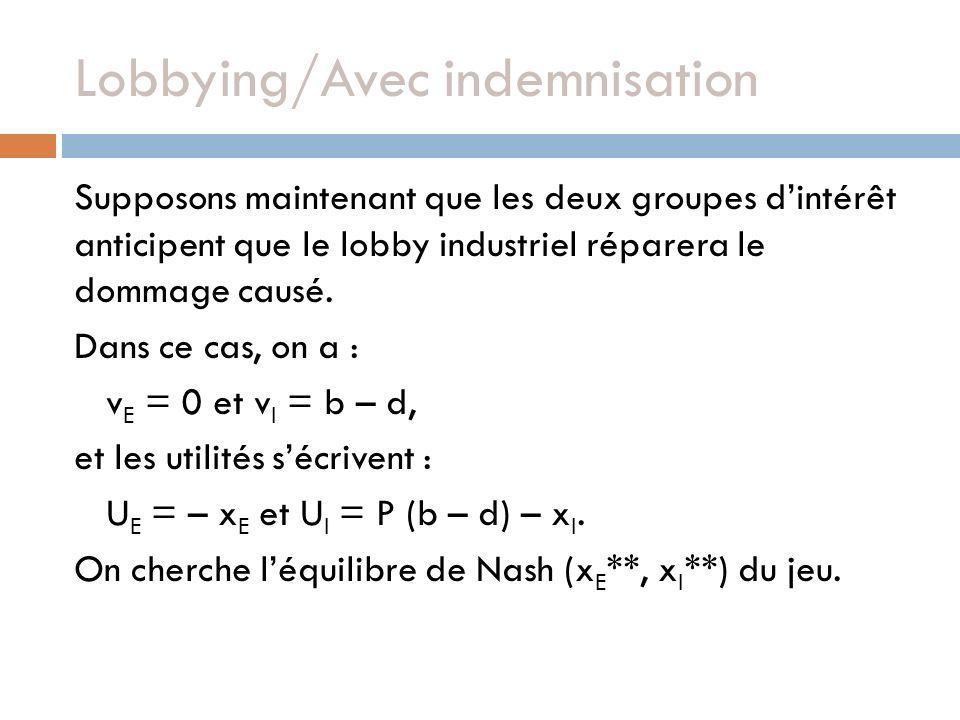 Lobbying/Avec indemnisation Supposons maintenant que les deux groupes dintérêt anticipent que le lobby industriel réparera le dommage causé. Dans ce c
