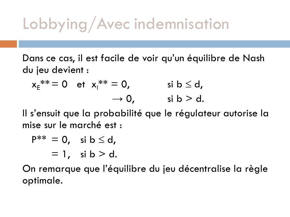 Lobbying/Avec indemnisation Dans ce cas, il est facile de voir quun équilibre de Nash du jeu devient : x E **= 0 et x I ** = 0,si b d, 0,si b > d. Il