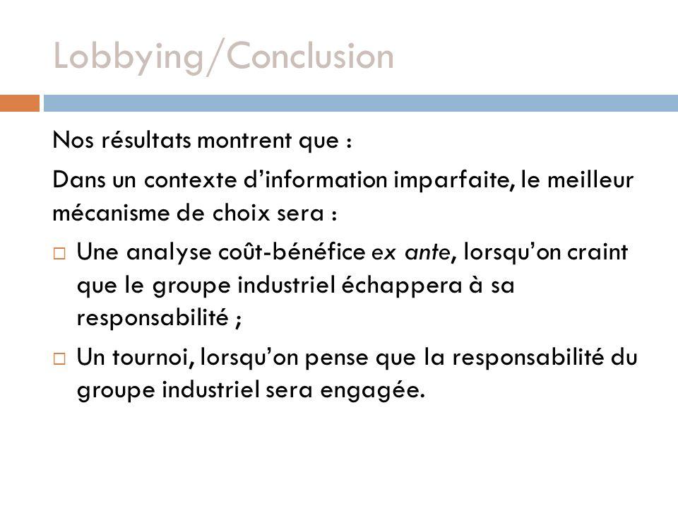 Lobbying/Conclusion Nos résultats montrent que : Dans un contexte dinformation imparfaite, le meilleur mécanisme de choix sera : Une analyse coût-béné