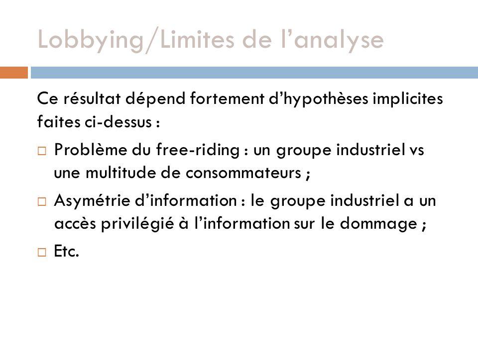 Lobbying/Limites de lanalyse Ce résultat dépend fortement dhypothèses implicites faites ci-dessus : Problème du free-riding : un groupe industriel vs une multitude de consommateurs ; Asymétrie dinformation : le groupe industriel a un accès privilégié à linformation sur le dommage ; Etc.