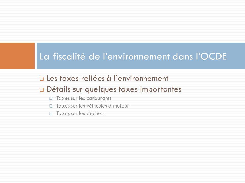 Les taxes reliées à lenvironnement Détails sur quelques taxes importantes Taxes sur les carburants Taxes sur les véhicules à moteur Taxes sur les déchets La fiscalité de lenvironnement dans lOCDE