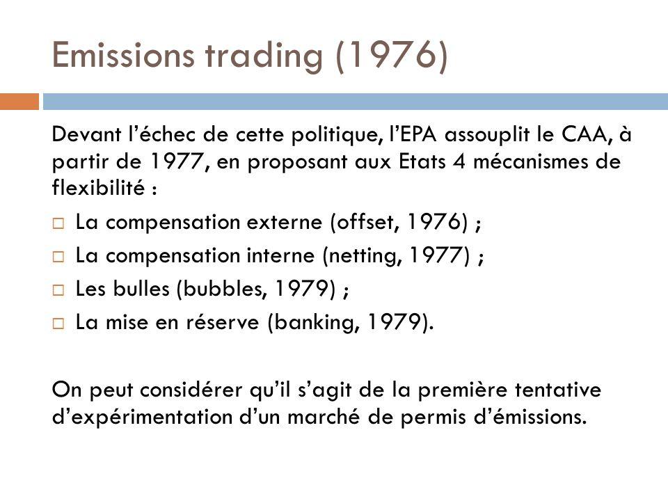 Emissions trading (1976) Devant léchec de cette politique, lEPA assouplit le CAA, à partir de 1977, en proposant aux Etats 4 mécanismes de flexibilité : La compensation externe (offset, 1976) ; La compensation interne (netting, 1977) ; Les bulles (bubbles, 1979) ; La mise en réserve (banking, 1979).