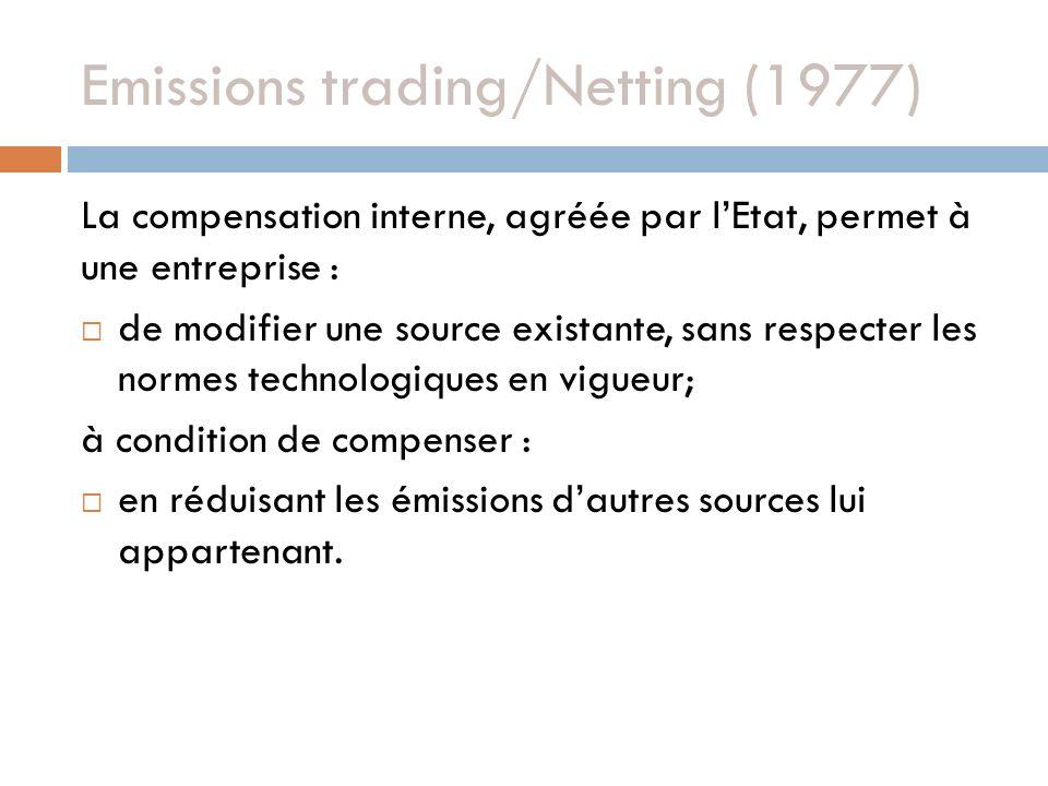 Emissions trading/Netting (1977) La compensation interne, agréée par lEtat, permet à une entreprise : de modifier une source existante, sans respecter les normes technologiques en vigueur; à condition de compenser : en réduisant les émissions dautres sources lui appartenant.