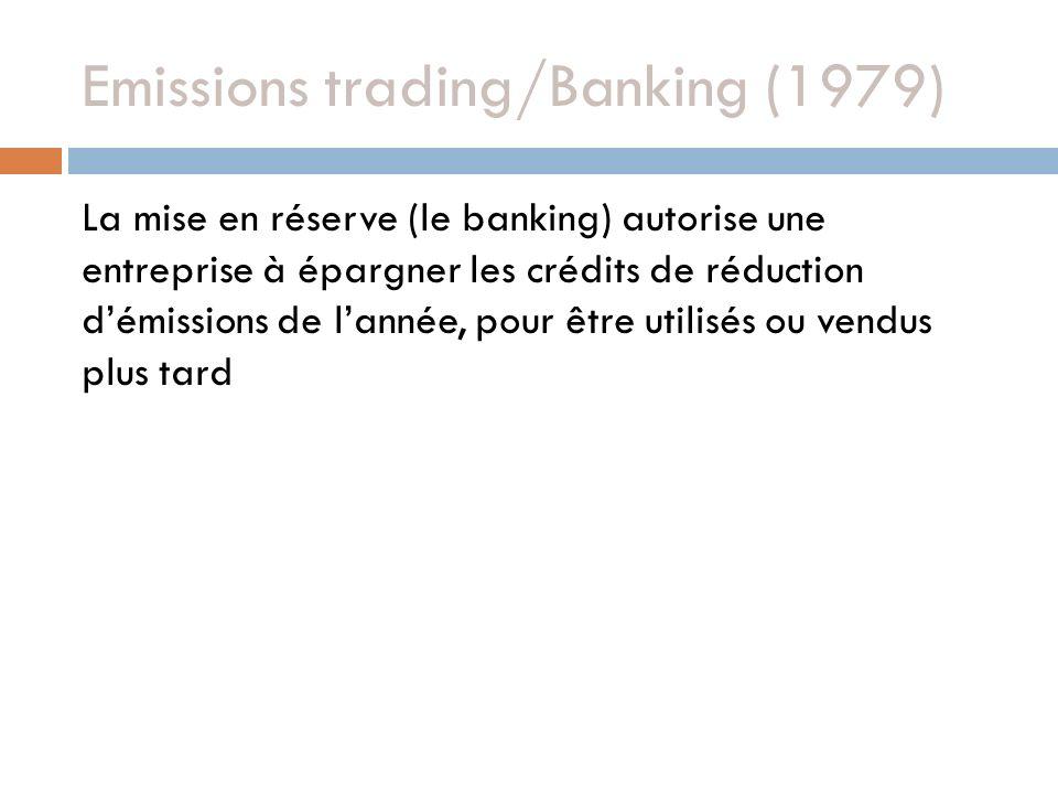 Emissions trading/Banking (1979) La mise en réserve (le banking) autorise une entreprise à épargner les crédits de réduction démissions de lannée, pour être utilisés ou vendus plus tard